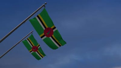 Dominica Flags In The Blue Sky - 4K