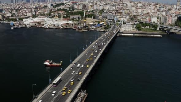 Thumbnail for Istanbul Bosphorus And Golden Horn Bridge Aerial View 7