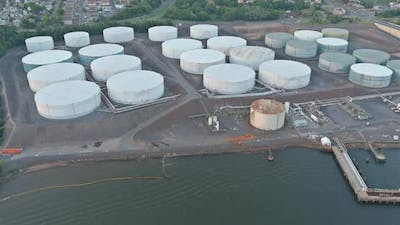 Industrial zone of industrial pipelines an oil refinery plant the equipment of oil tank