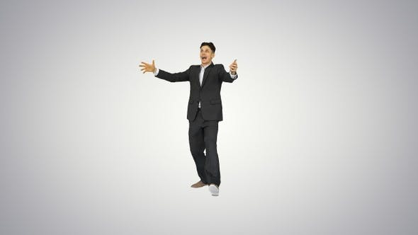 Thumbnail for Young happy businessman dancing after counting salary Win