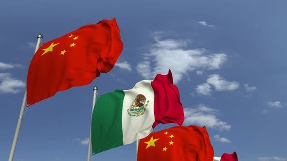 Thumbnail for Waving Flags of Mexico and China on Sky Background