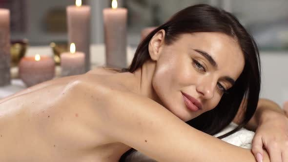 Thumbnail for Beautiful Woman Portrait at Spa Salon with Candles
