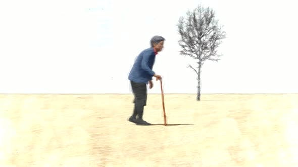 Elderly Woman with a Walking Stick Stop Motion