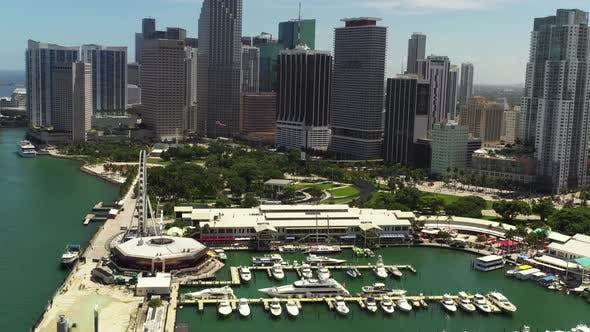 Aerial Footage Downtown Miami Skyviews Ferris Wheel At Bayside Marketplace And Marina
