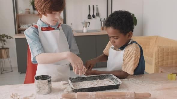 Diverse School Boys Decorating Cookies