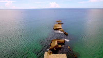 Breakwater Ruins Drone Shot