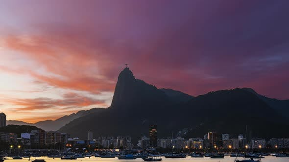 Beautiful Panorama of Rio De Janeiro at Twilight Brazil
