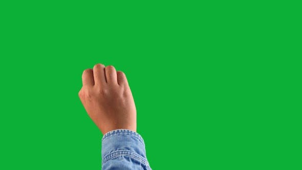 Thumbnail for Mixed Race Deep Skin Tone Male Hand Makes a Swipe Up Gesture on Chromakey Green