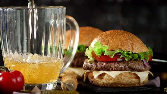 Thumbnail for Burgers and a Glass of Fresh Beer.
