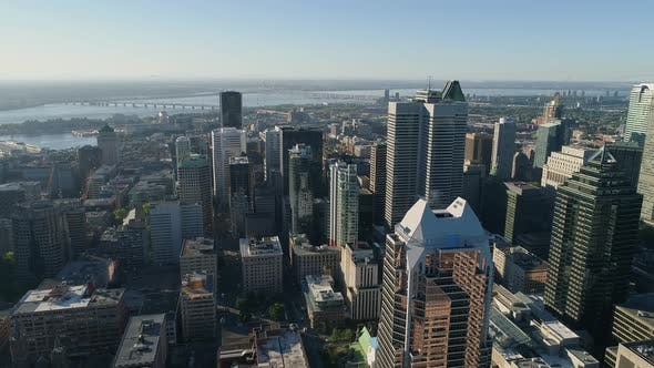 Thumbnail for Aerial of Downtown Montreal and Saint Lawrence River