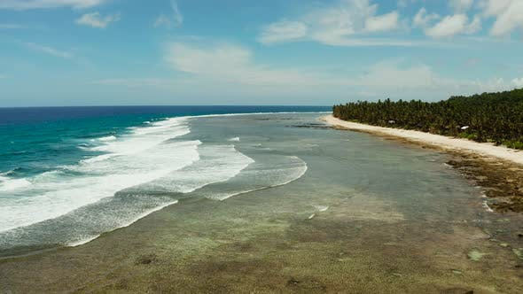 Thumbnail for The Coast of Siargao Island, Blue Ocean and Waves