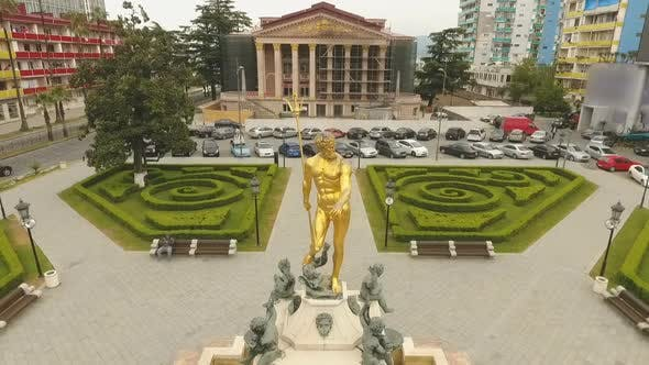 Thumbnail for Statue of Neptune and Its Fountain in Front of Batumi Drama Theater, Georgia