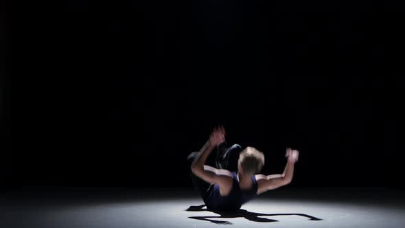Thumbnail for Young Blonde Dancer Man Starts Dancing Breakdance on Black