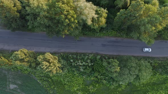 Thumbnail for Aerial View Road Near Field At Sunset