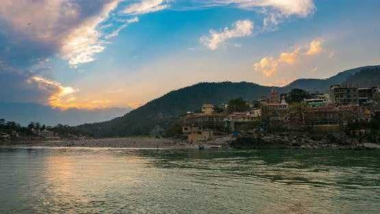 Time lapse at Rishikesh, holy town and travel destination in India