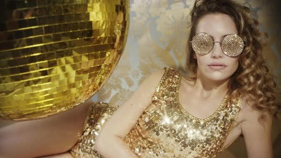 Thumbnail for gold babe crystals sunglasses diva party disco woman