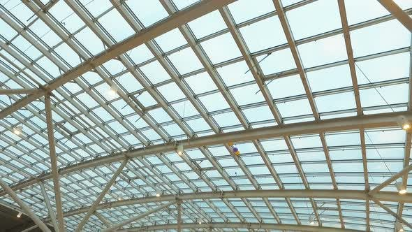 Thumbnail for Glass Roof of a Modern Building. Overlapping Roof of the Building