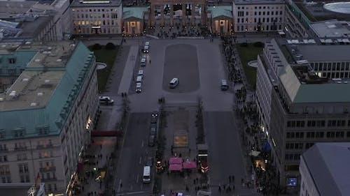 AERIAL: Slow Pan Up Revealing Brandenburger Tor on Sunset in Berlin, Germany