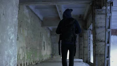 Teenage Boy Walking in Abandoned House, Dangerous Place, Risk of Kidnapping