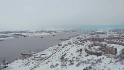 Aerial View of Seaport Murmansk Russia