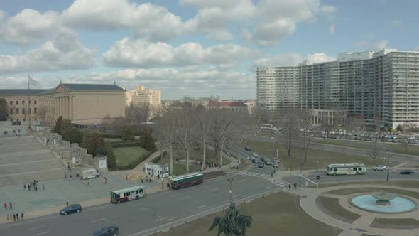 Long Panning Aerial Drone Shot Showing Philadelphia Museum of Art and Downtown