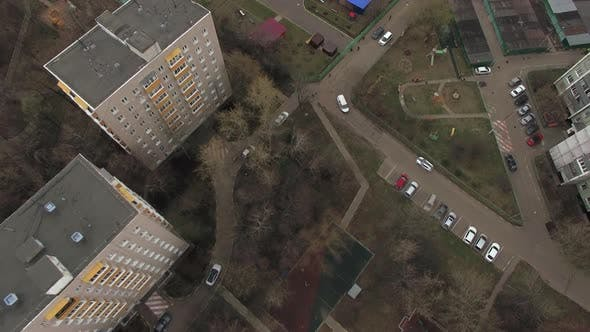 Cover Image for Top Aerial View of One of Moscow Yard, Cloudy Weather. Urban Cityscape From Quadrocopter