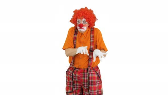Thumbnail for Clown Playing Imaginary Piano with Emotions on White Background