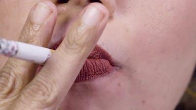 Female Lips Focus Smoking
