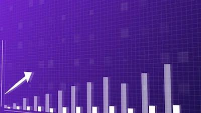 Blue and purple upwards bar graph