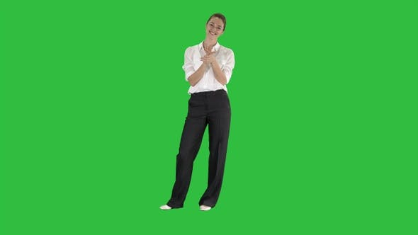 Thumbnail for Business woman clapping on a Green Screen, Chroma Key.