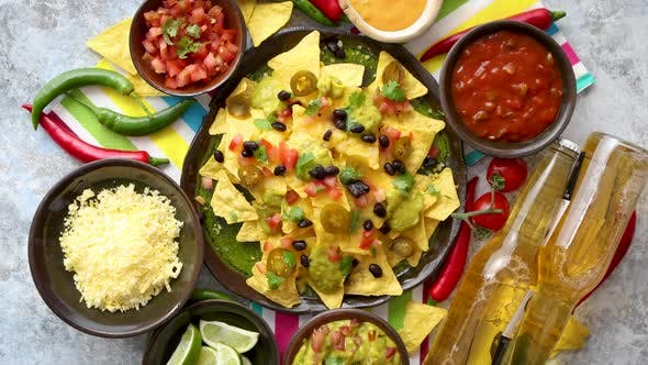 Thumbnail for Mexican Nachos Tortilla Chips with Black Bean, Jalapeno, Guacamole