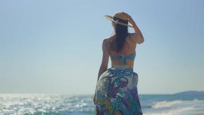 Attractive brunette walking around ocean