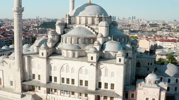 Istanbul City And Fatih Mosque Quarantine Aerial View 4