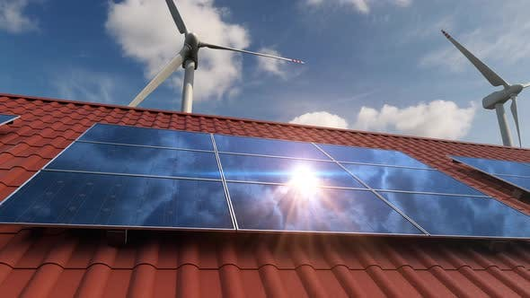 Thumbnail for Solar Panels on the Red Roof of the Private House and Wind Turbines Generators