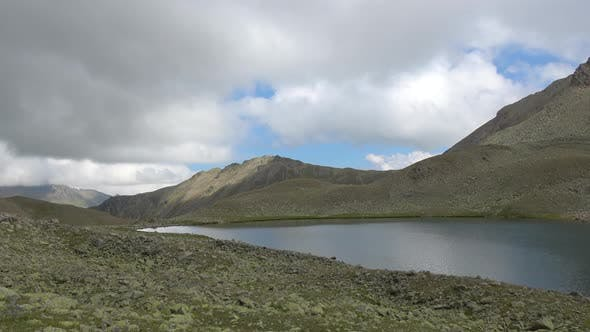 Thumbnail for View lake scenes in mountains, national park Dombay, Caucasus