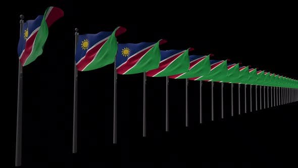 Row Of Namibia Flags With Alpha 2K