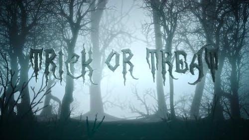 Animationstext Trick oder Treat und mystischen Hintergrund mit dunklem Wald und Nebel