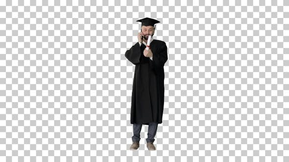 Thumbnail for Happy graduated young man in cap and gown, Alpha Channel