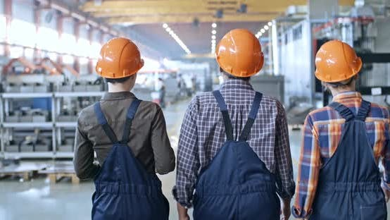 Thumbnail for Rear View of Female Factory Inspectors Walking Together