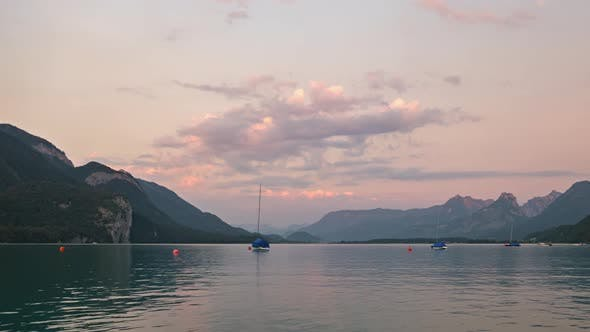 Sunset Timelapse on Wolfgangsee, Austria.