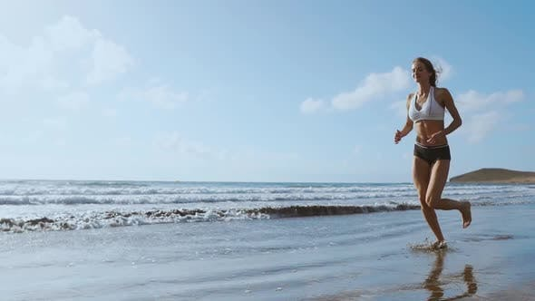 Thumbnail for Healthy Woman Running on the Beach, Girl Doing Sport Outdoor, Happy Female Exercising, Freedom