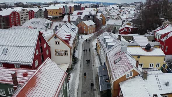 Thumbnail for Aerial View Over Trondheim, Norway Winter
