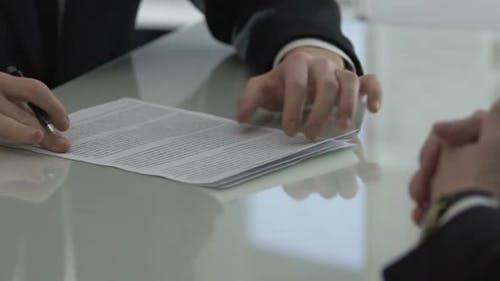 Company Head Looking Through Contract and Returning, Disadvantageous Conditions