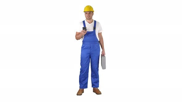 Thumbnail for Factory Worker Employee Chatting Browsing Texting on Smartphone on White Background.