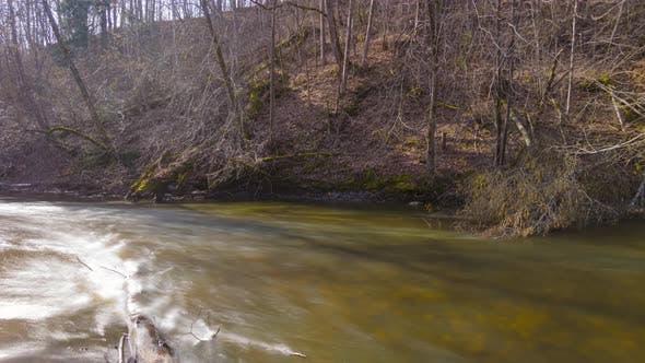 Spring river, panoramic time-lapse