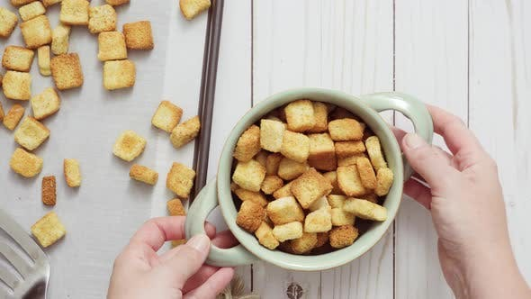 Thumbnail for Fresh french toast croutons in the bowl.