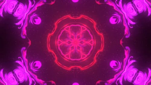 Color kaleidoscope in the form of a mandala. Black red pink background