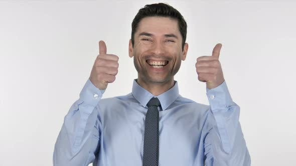 Thumbnail for Happy Businessman Gesturing Thumbs Up