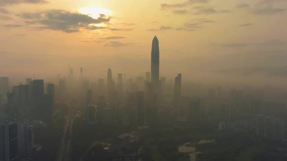 Shenzhen Urban Skyline in Fog in the Morning. Futian District. China. Aerial View