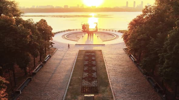 Kyiv, Ukraine - a Monument To the Founders of the City in the Morning at Dawn. Aerial